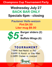 Join us in the back bar for International Champions Cup tournament party at Summers!