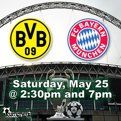 UEFA Champions League Final May 25, 2013 at 2:30pm EDT and 7:00pm EDT at Summers Grill and Sports Bar